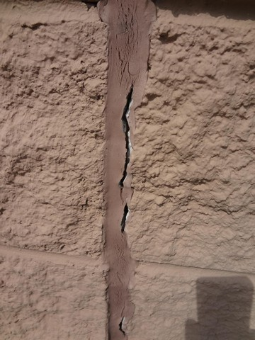 Cracked block wall joint